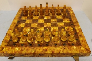 Large chess from natural amber (not melted and not pressed)